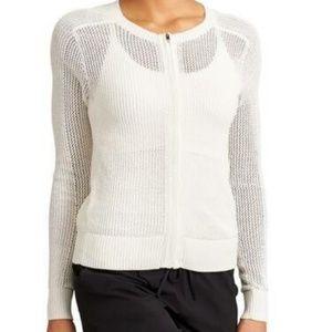 Athleta Mesh Zip Sweater Ivory White Size Large